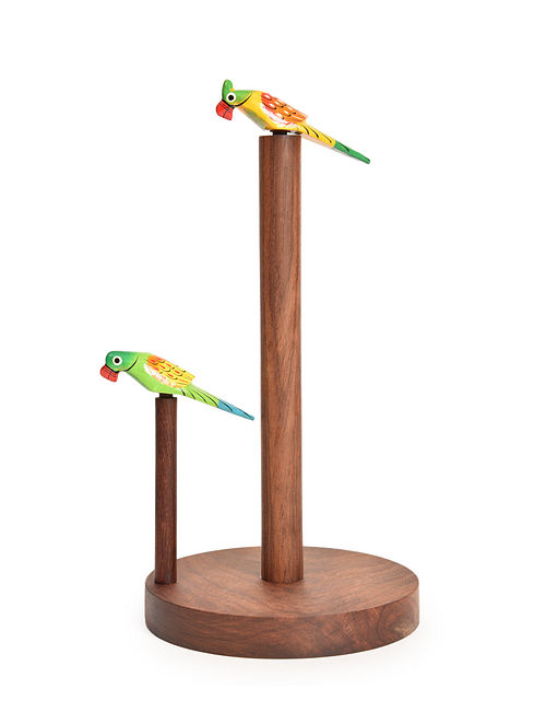 Brown-Multicolored Handcrafted Sheesham Wood Paper Towel Holder with Parrot Motif (L - 6in, W - 6in, H - 11.5in)