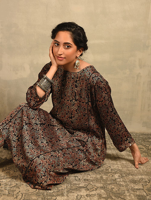 Black Natural Dyed Ajrakh Printed Modal Kurta with Sequin