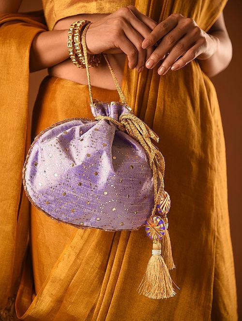 Purple Handcrafted Mukaish Silk Potli