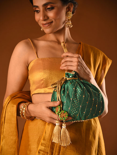 Green Handcrafted Mukaish Silk Potli