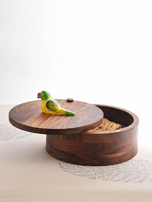 Brown-Multicolored Handcrafted Sheesham Wood Roti Box with Bird Motif (L - 8in, W - 8in, H - 4.5in)