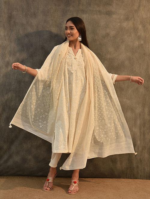Ivory Block Printed Silk Cotton Dupatta with Crochet Trim