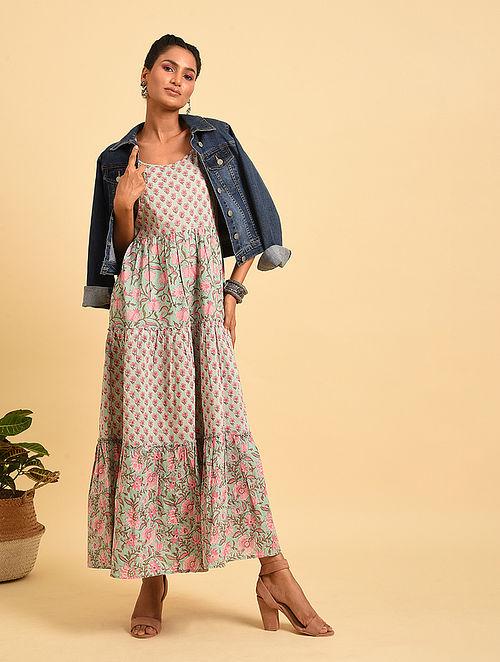 Blue-Pink Block Printed Maxi Dress