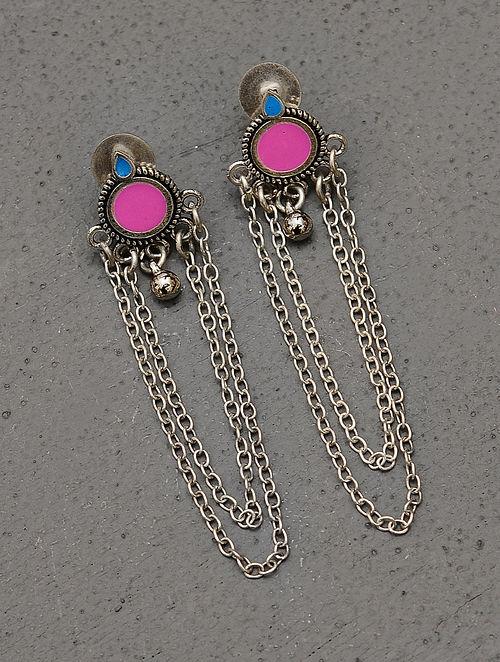 Pink Silver Tone Tribal Enameled Earrings