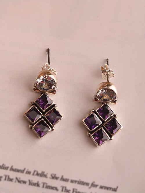 White Purple Silver Earrings