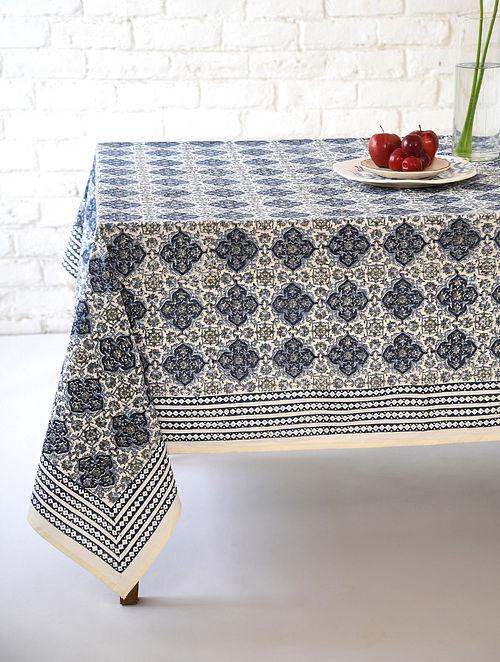 Indigo Mehraab Handblock Printed Cotton Table Cover (L - 90in, W - 60in)