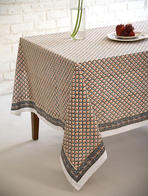 Multicolor Jaal Handblock Printed Cotton Table Cover (L - 90in, W - 60in)