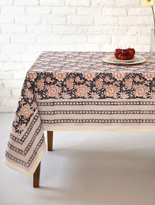 Multicolor Floral Gadh Handblock Printed Cotton Table Cover (L - 90in, W - 60in)