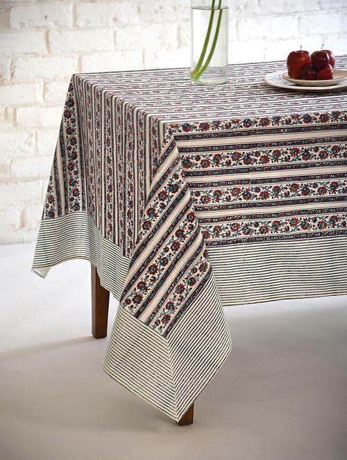 Multicolor Floral Handblock Printed Cotton Table Cover (L - 90in, W - 60in)