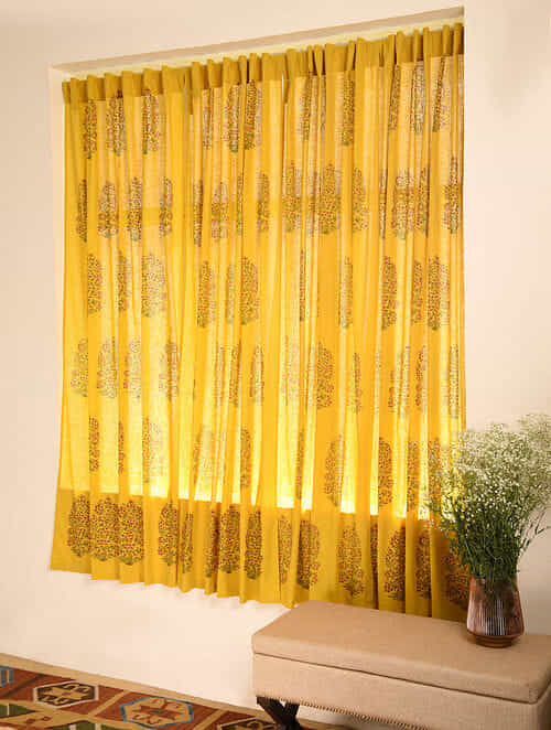 Ochre Handblock Printed Cotton Slub Curtain (L - 84in, W - 42in)
