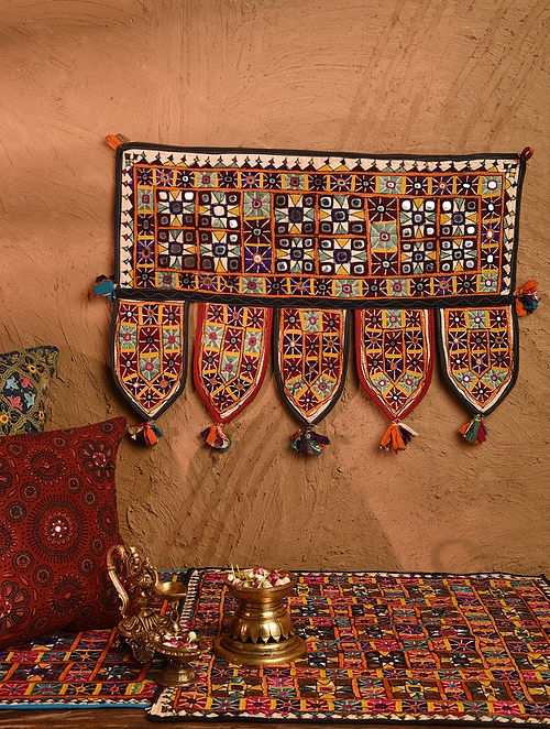 Vintage Embroidered and Embellished Toran (L - 24in, W - 17.5in)