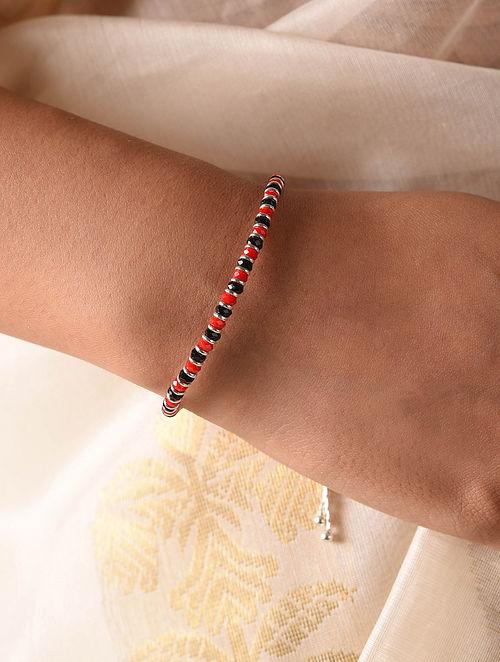 Red Black Tribal Silver Nazariya Bracelet