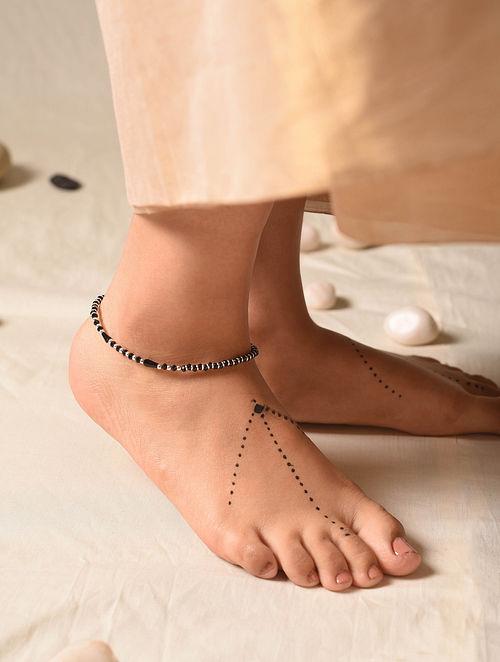 Black Tribal Silver Nazariya Anklet