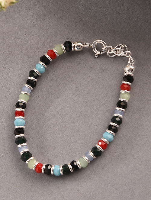 Multicolour Tribal Silver Nazariya Bracelet for Kids