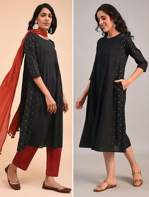 Black Cotton Dobby Embroidered Kurta Dress with Pintuck