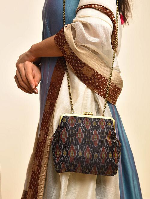 Black Handcrafted Ikat Cotton Silk Clutch