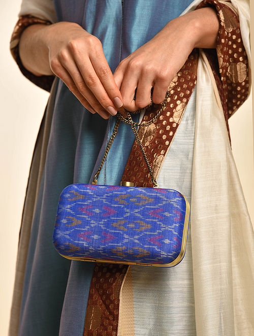 Blue Handcrafted Ikat Cotton Silk Clutch