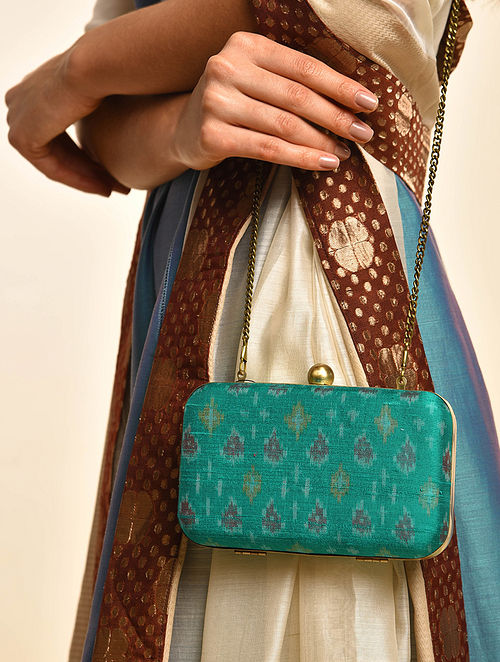 Green Handcrafted Ikat Cotton Silk Clutch
