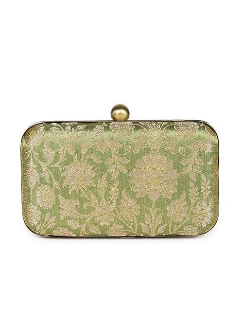 Green Handcrafted Banarasi Brocade Silk Clutch