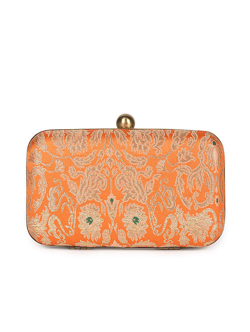 Orange Handcrafted Banarasi Brocade Silk Clutch