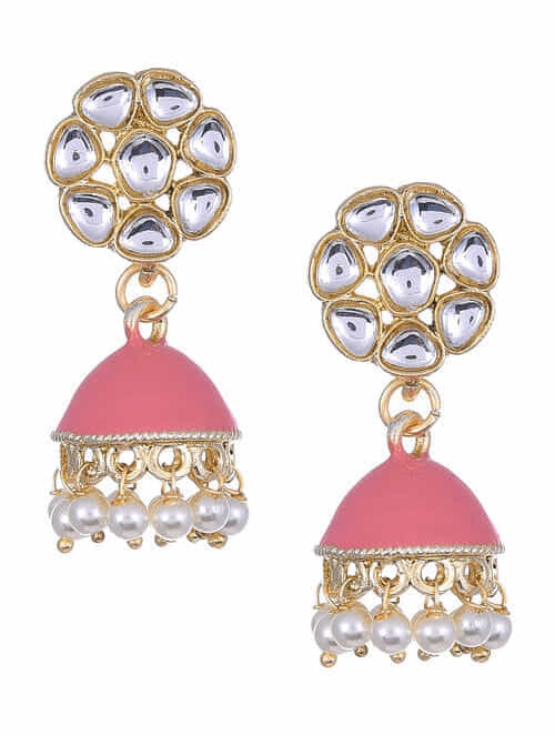 Pink Gold Tone Kundan Enameled Jhumki Earrings With Pearls