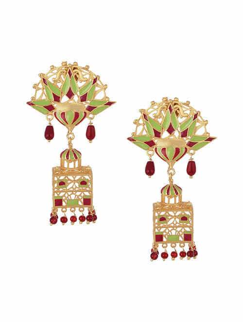 Maroon Green Gold Tone Enameled Earrings