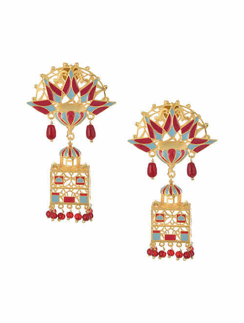 Blue Maroon Gold Tone Enameled Earrings