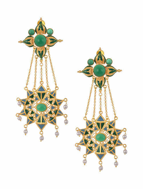 Green Blue Gold Tone Enameled Earrings with Pearls