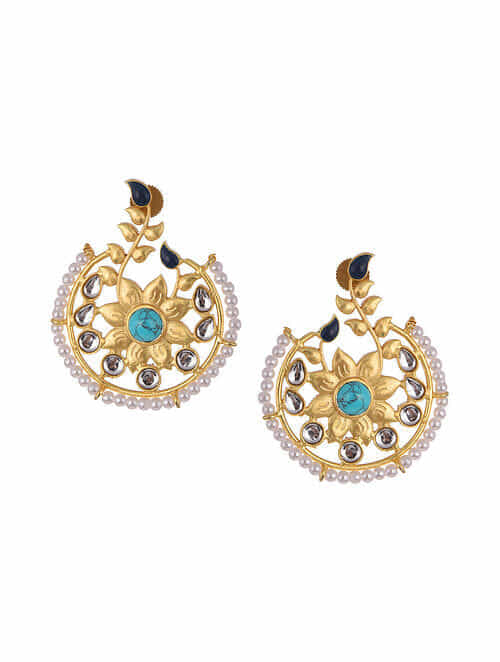 Turquoise Gold Tone Kundan Inspired Beaded Earrings