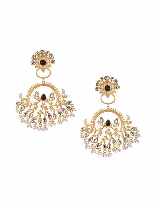 Black White Gold Tone Kundan Inspired Earrings With Pearls