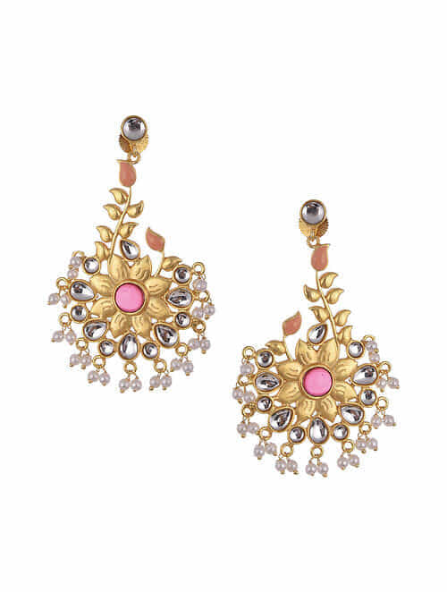 Pink Gold Tone Kundan Inspired Earrings With Pearls