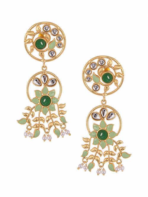 Green Gold Tone Kundan Inspired Enameled Earrings With Pearls