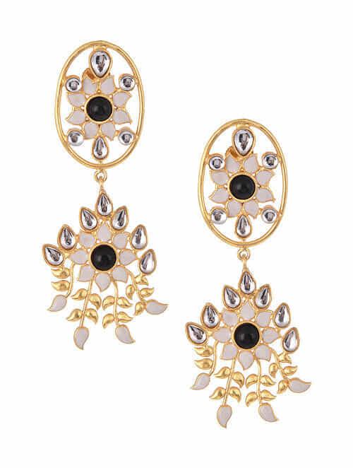 Black White Gold Tone Kundan Inspired Earrings