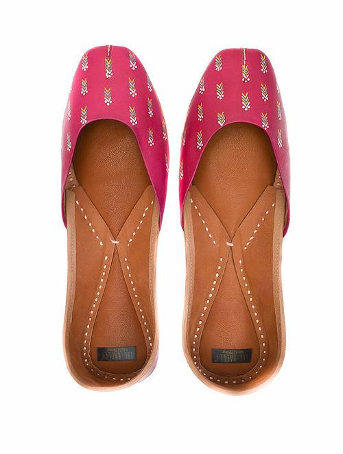 Fuchsia Pink Handpainted Leather Juttis
