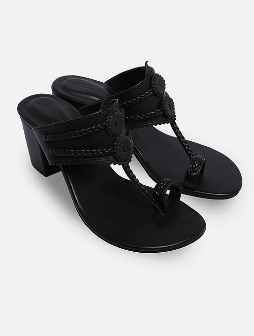 Black Handcrafted Leather Kolhapuri Block Heels
