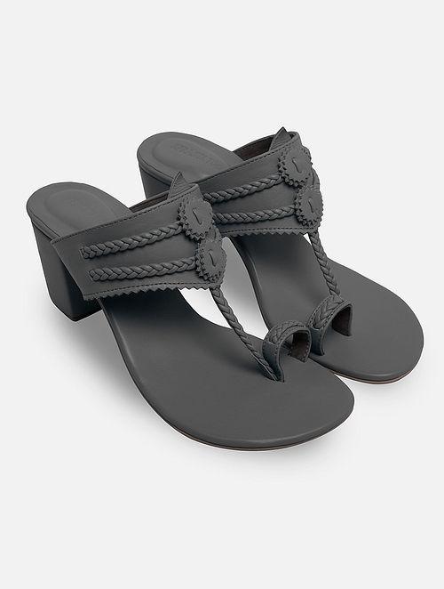 Grey Handcrafted Leather Kolhapuri Block Heels