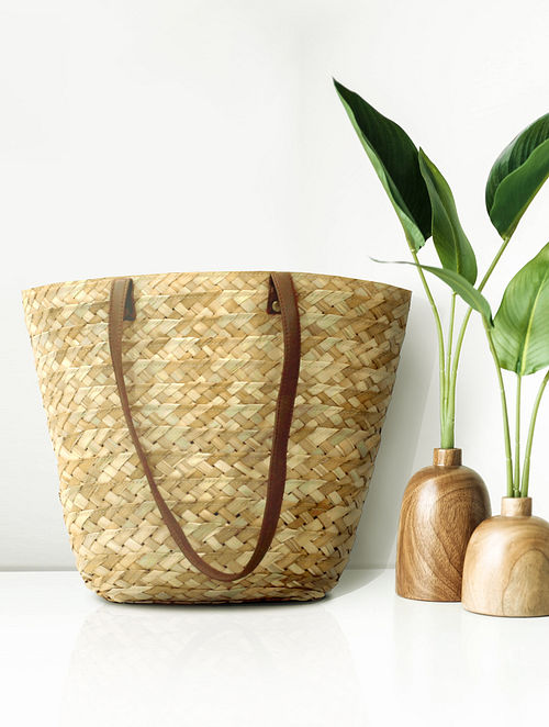 Beige Handcrafted Palm Leaf Tote Bag