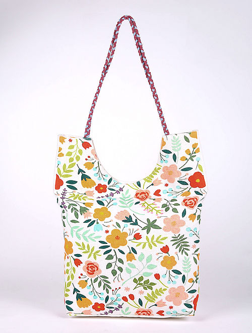 Multicolored Printed Cotton Tote Bag
