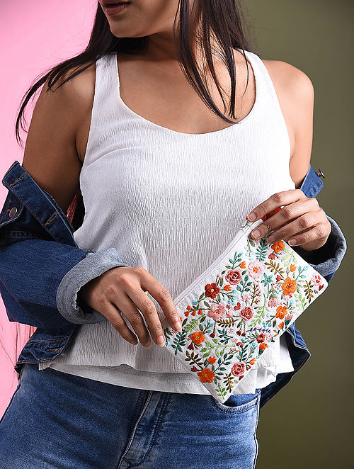 Multicolored Embroidered Cotton Pouch
