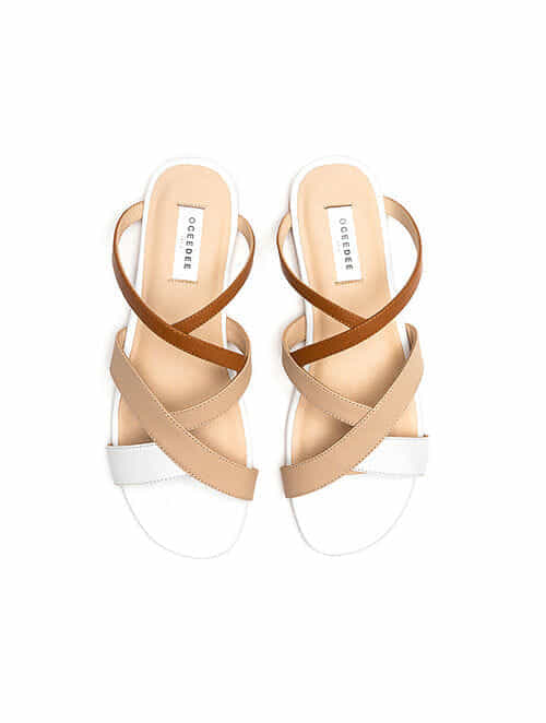 Nude White Handcrafted Genuine Leather Flats