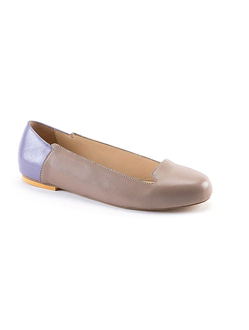 Taupe Blue Handcrafted Genuine Leather Shoes