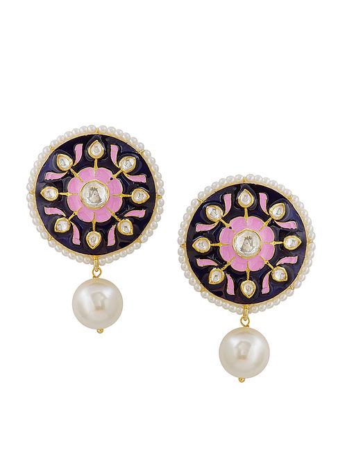 Pink Blue Meenakari Gold Tone Silver Earrings with Pearls