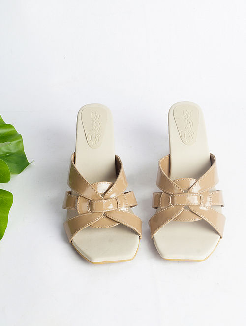 Nude Hand Embroidered Faux Leather Block Heels