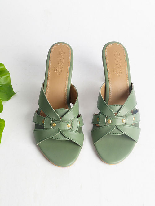 Olive Green Handcrafted Faux Leather Block Heels