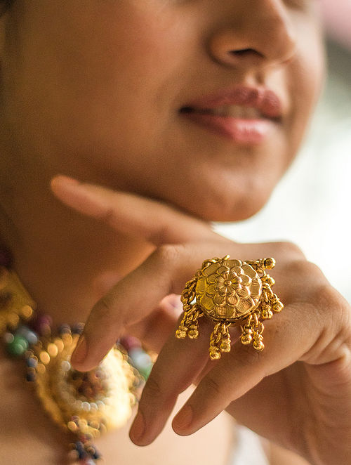Gold Plated Adjustable Silver Ring