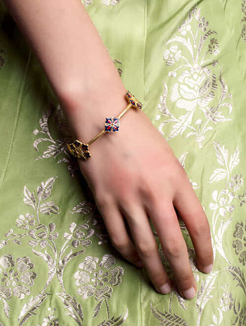 Red Blue Gold Plated Enameled Bangle -2/4