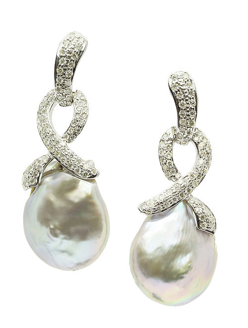 Diamond Silver Earrings with Baroque Pearls