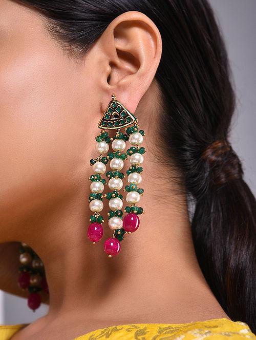 Pink Green Gold Tone Kundan Beaded Earrings With Pearls