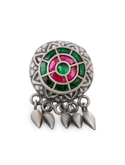 Red Green Tribal Silver Adjustable Ring
