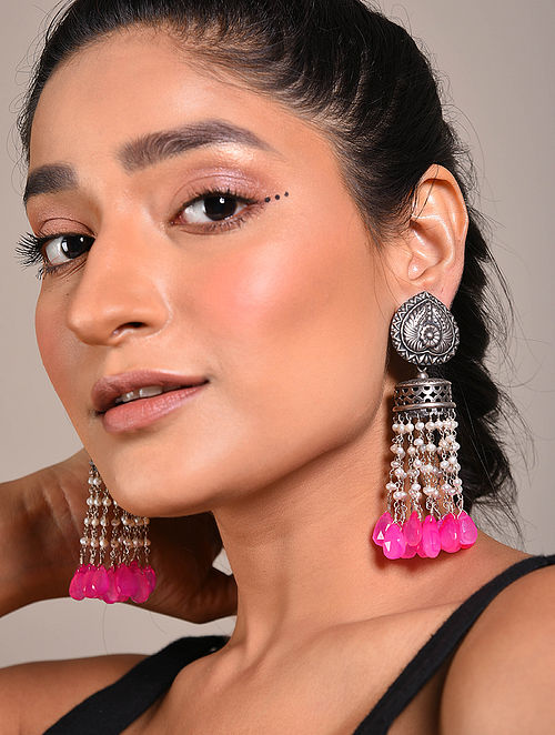 Pink Tribal Silver Earrings with Pearls